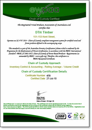 Front side of Chain of Custody Certificate